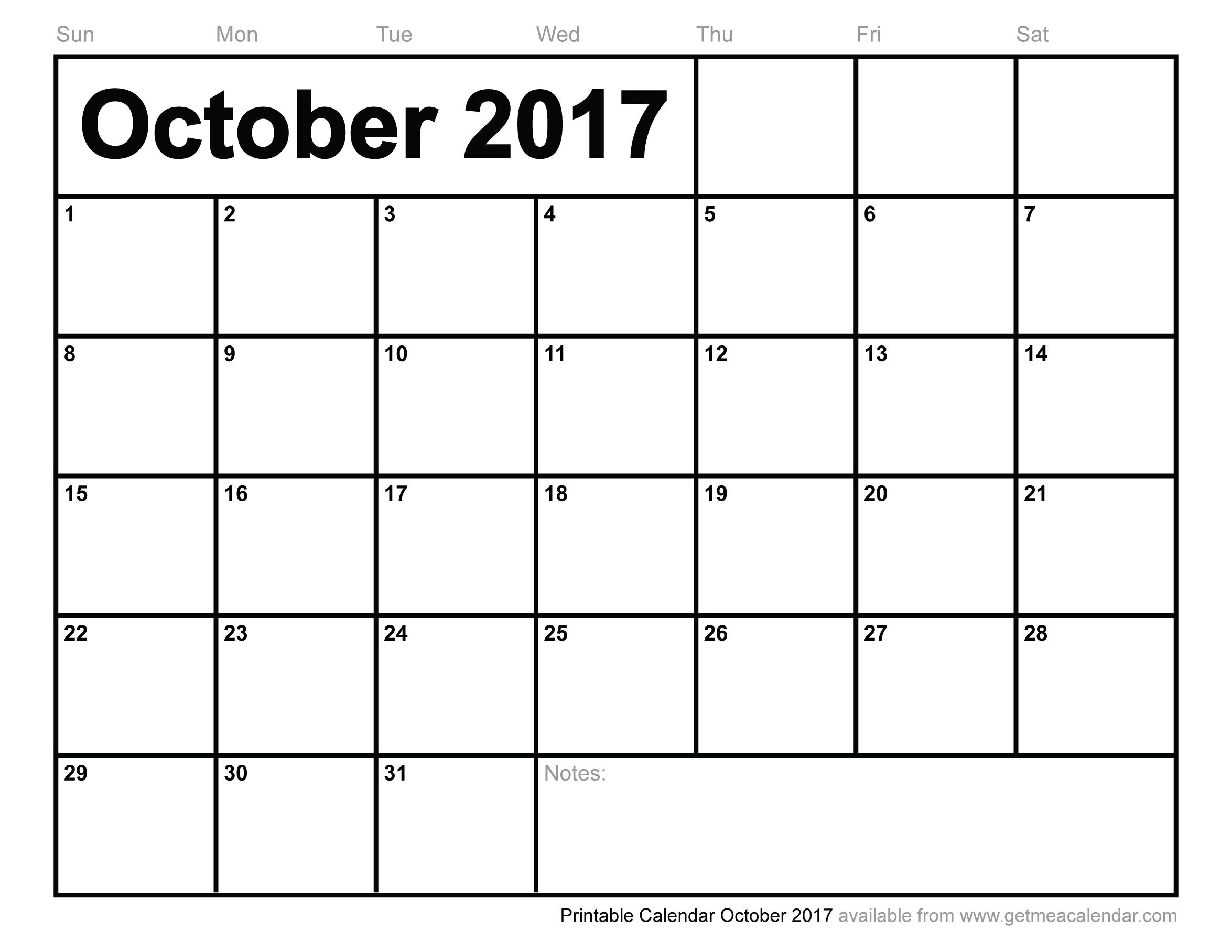 October 2017 Calendar Uk | yearly calendar printable