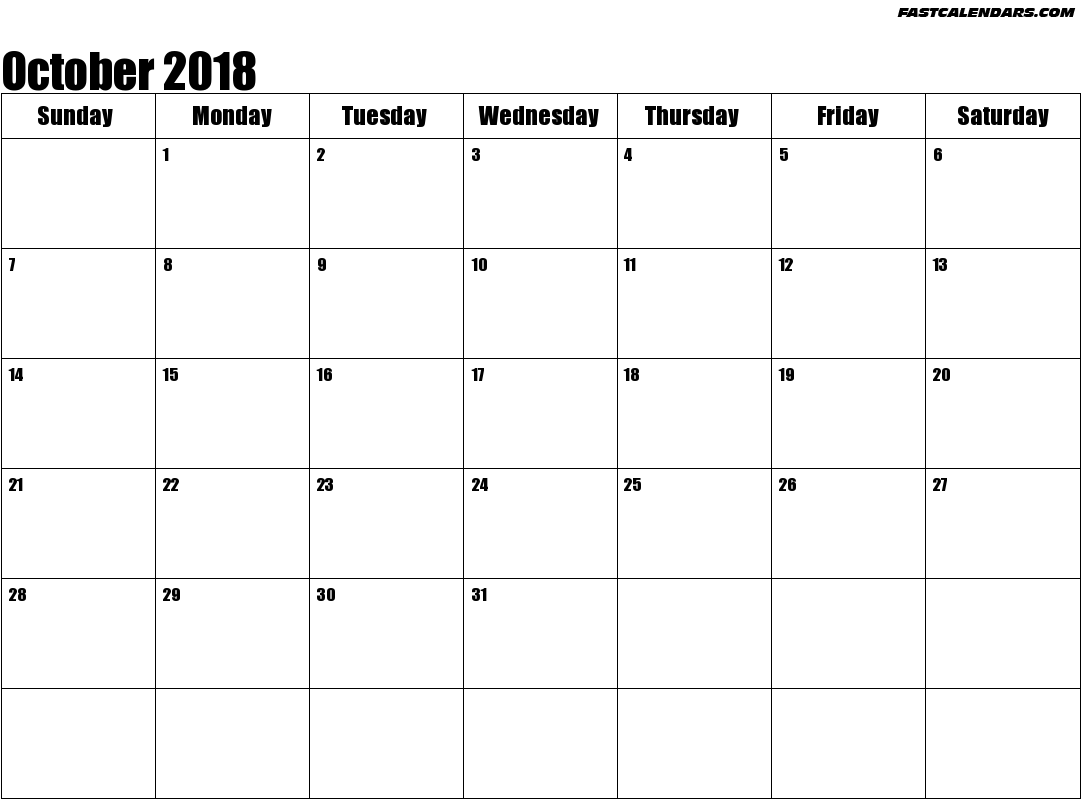 October 2018 Calendar | WikiDates.org