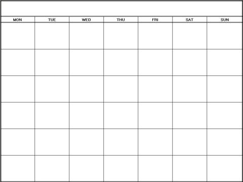 Printable Blank Calendars Templates Monday| Blank Calendars