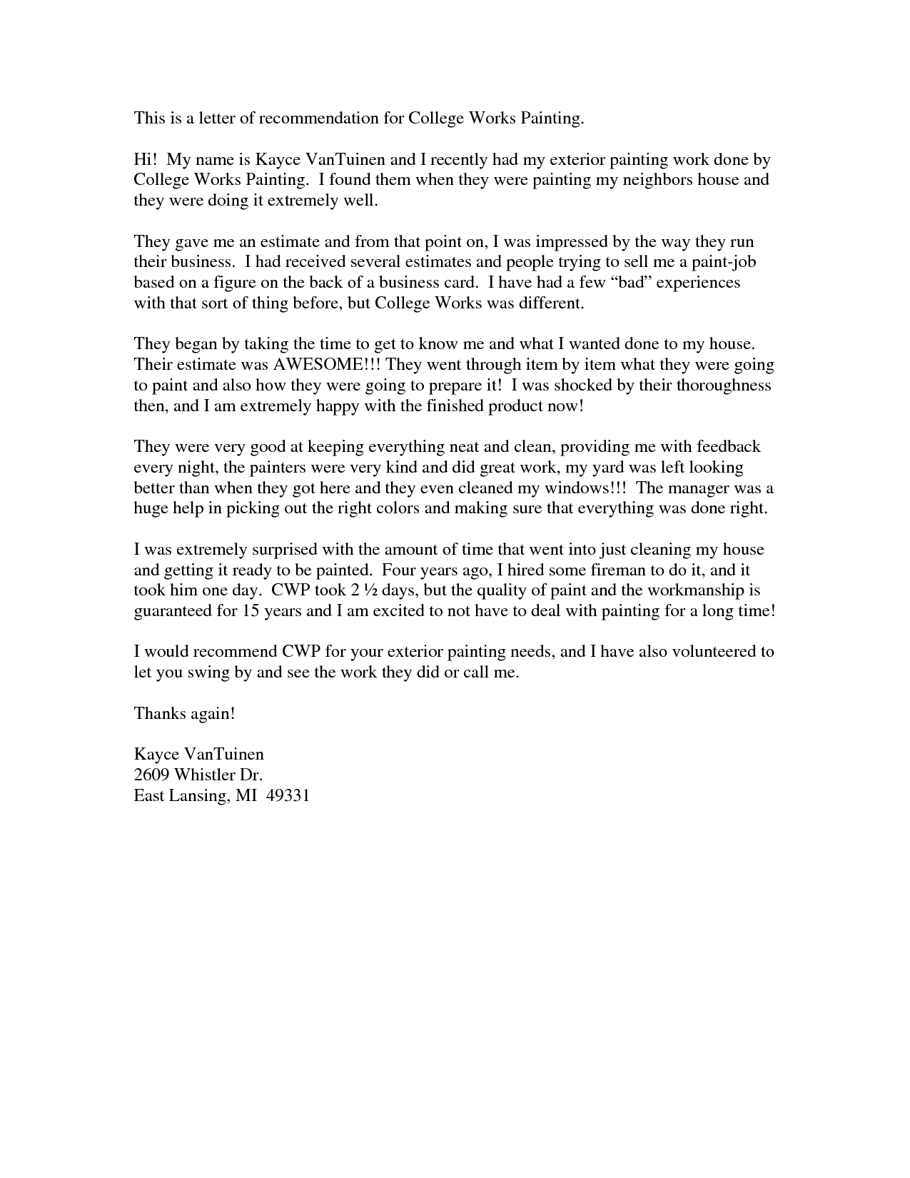 Recommendation Letter Examples. immigration recommendation letter