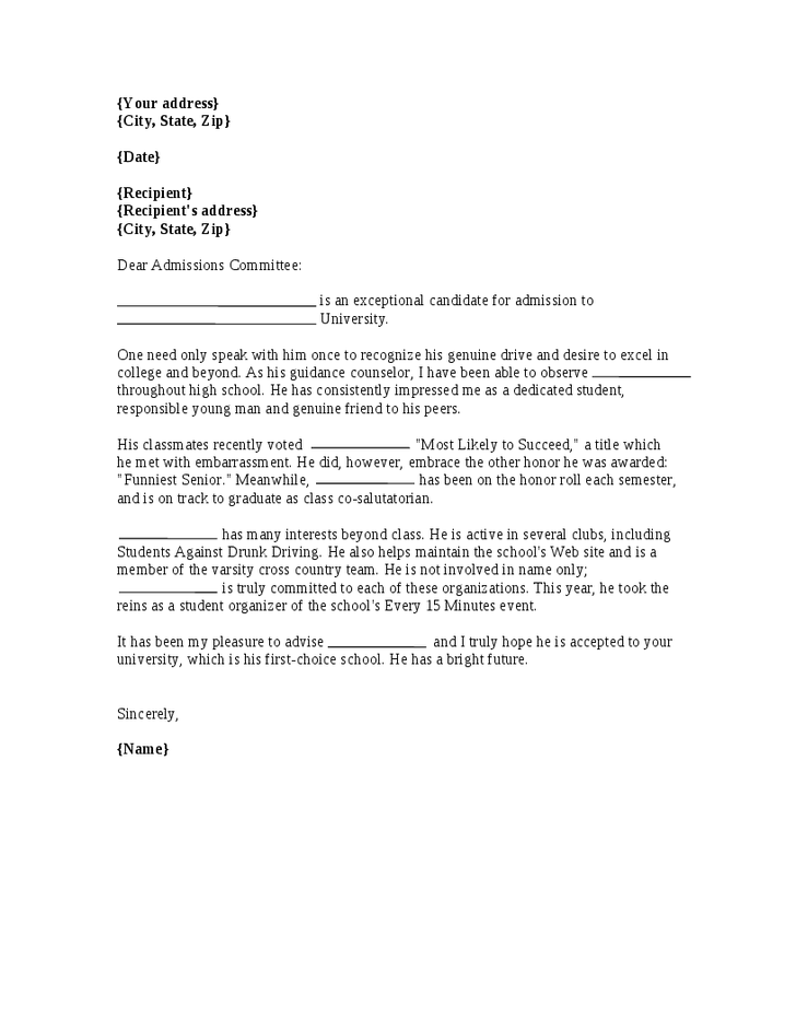 Personal Reference Letter For College Admissions Cover Letter
