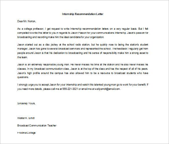 Recommendation Letter After Internship Completion Cover Letter
