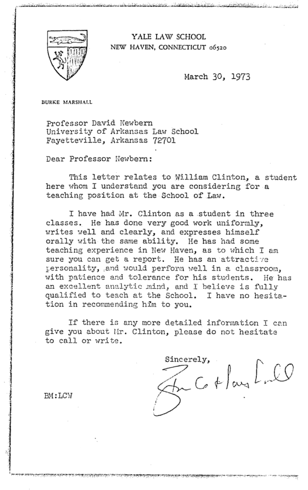Here's Bill Clinton's Personnel File From His Time As An Arkansas