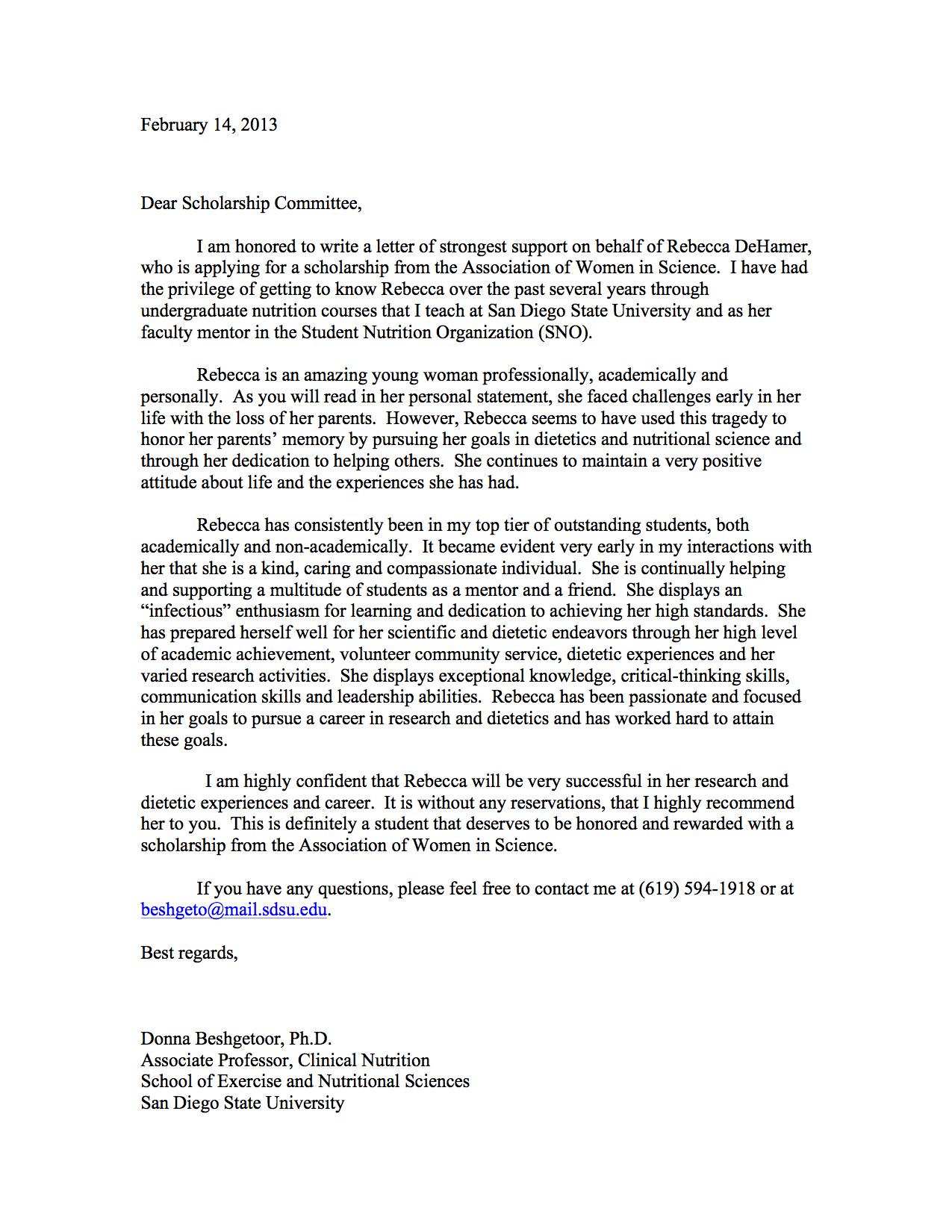 Reference Letter For Scholarship