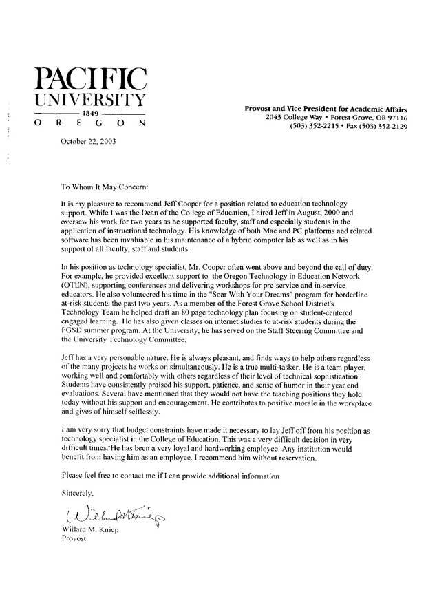 Recommendation Letter For Student | Sample Job Cover Letter