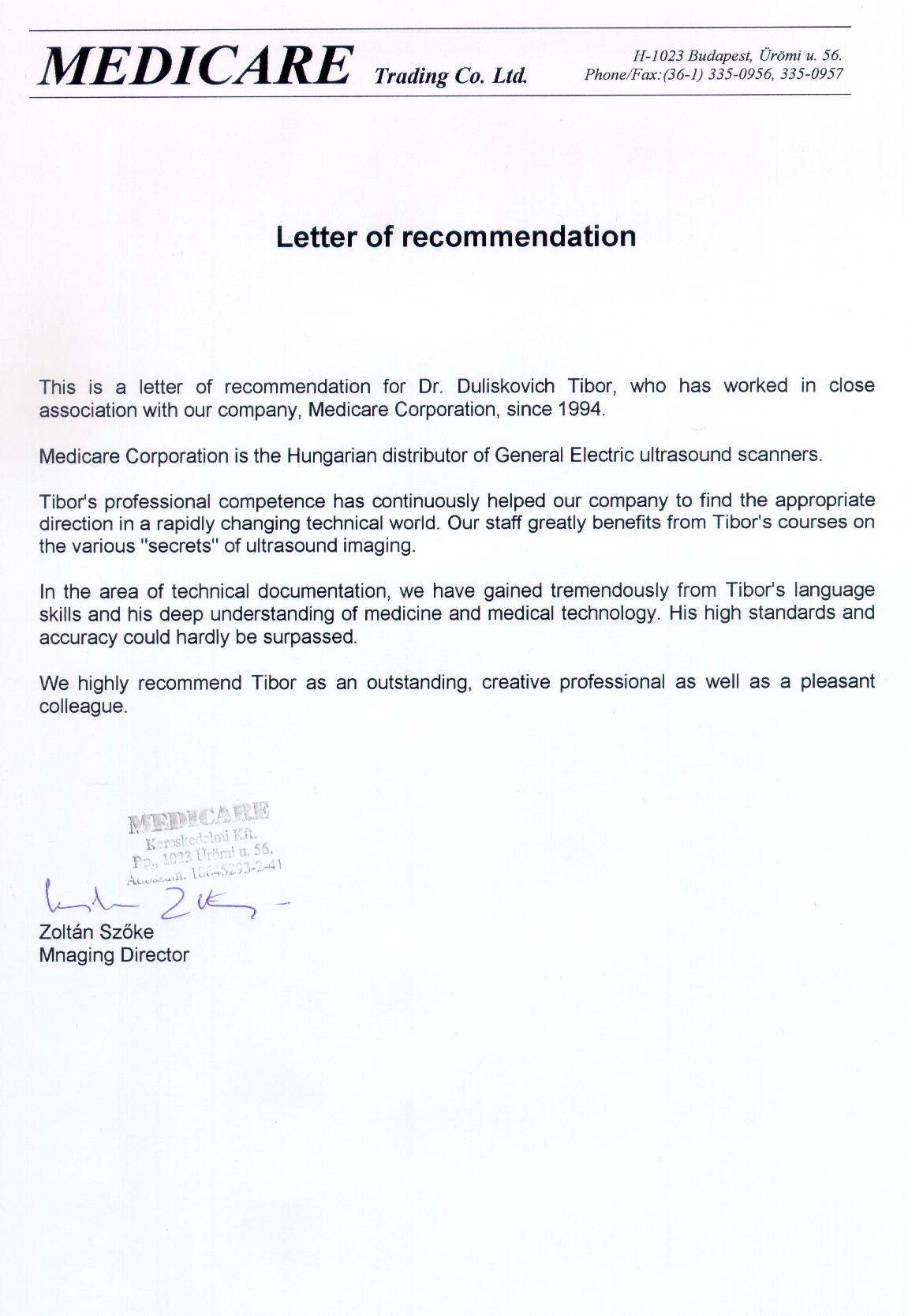 Sample Recommendation Letter For Medical Doctor Cover Letter