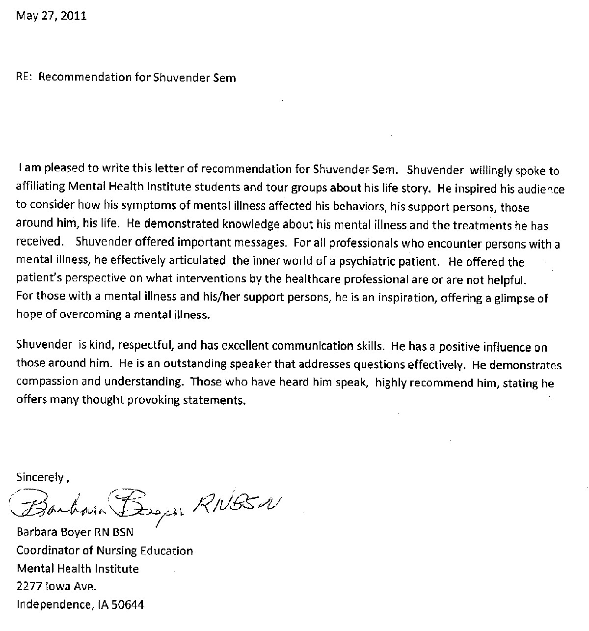 Professional Recommendation Letter For Nursing School