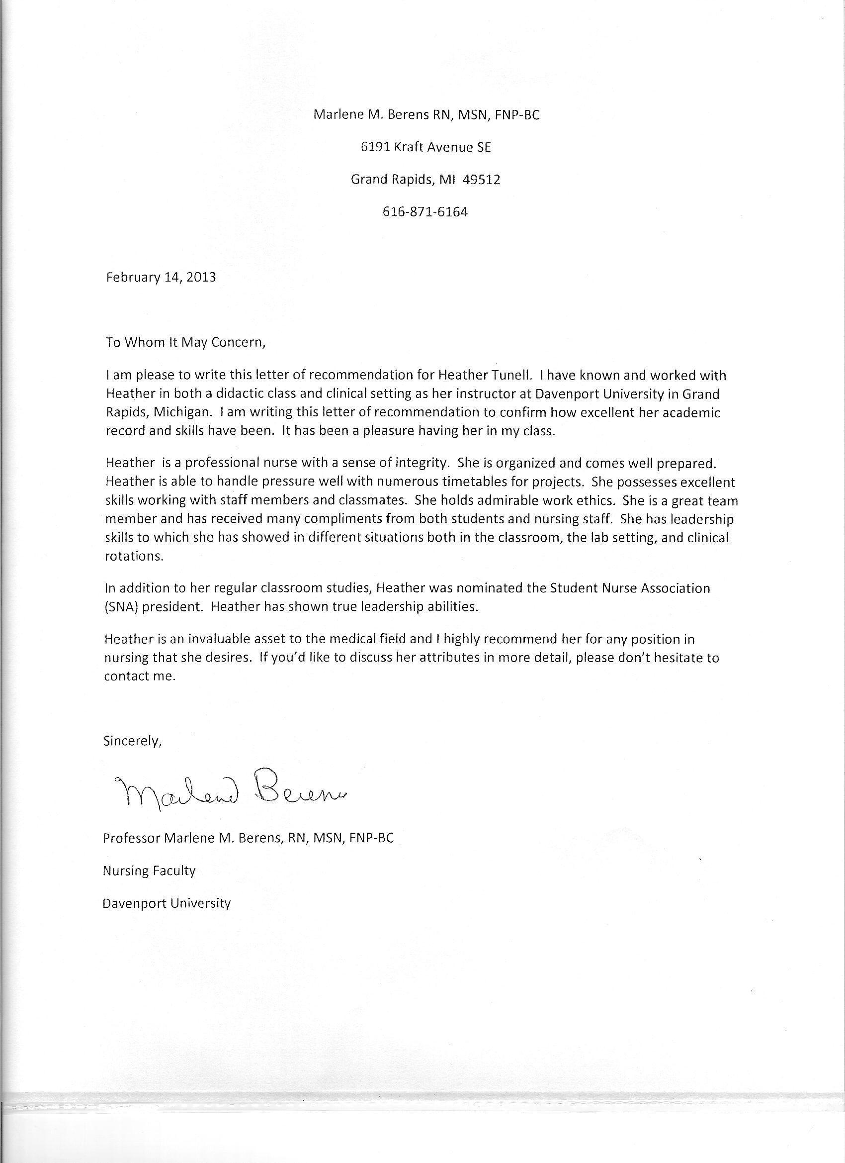 Reference Letter Nursing