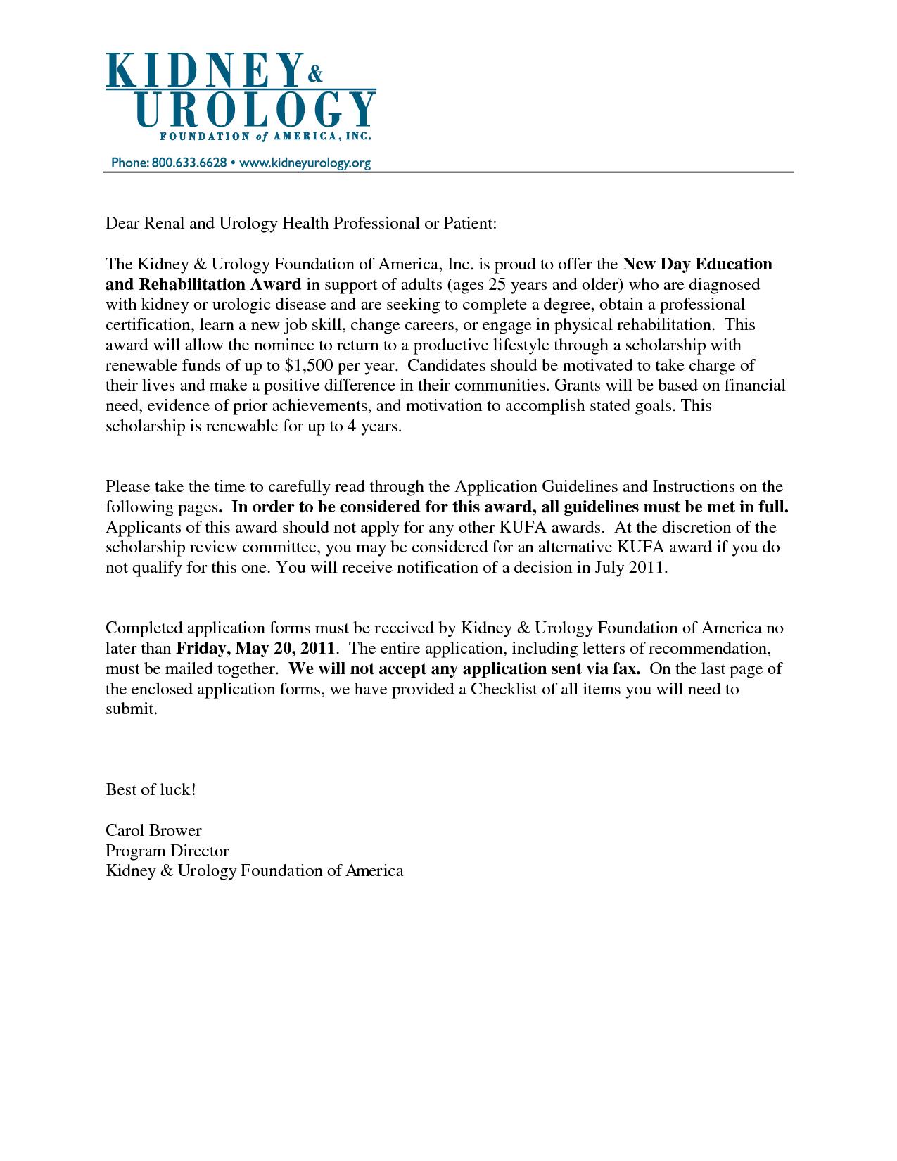 recommendation letter nursing school