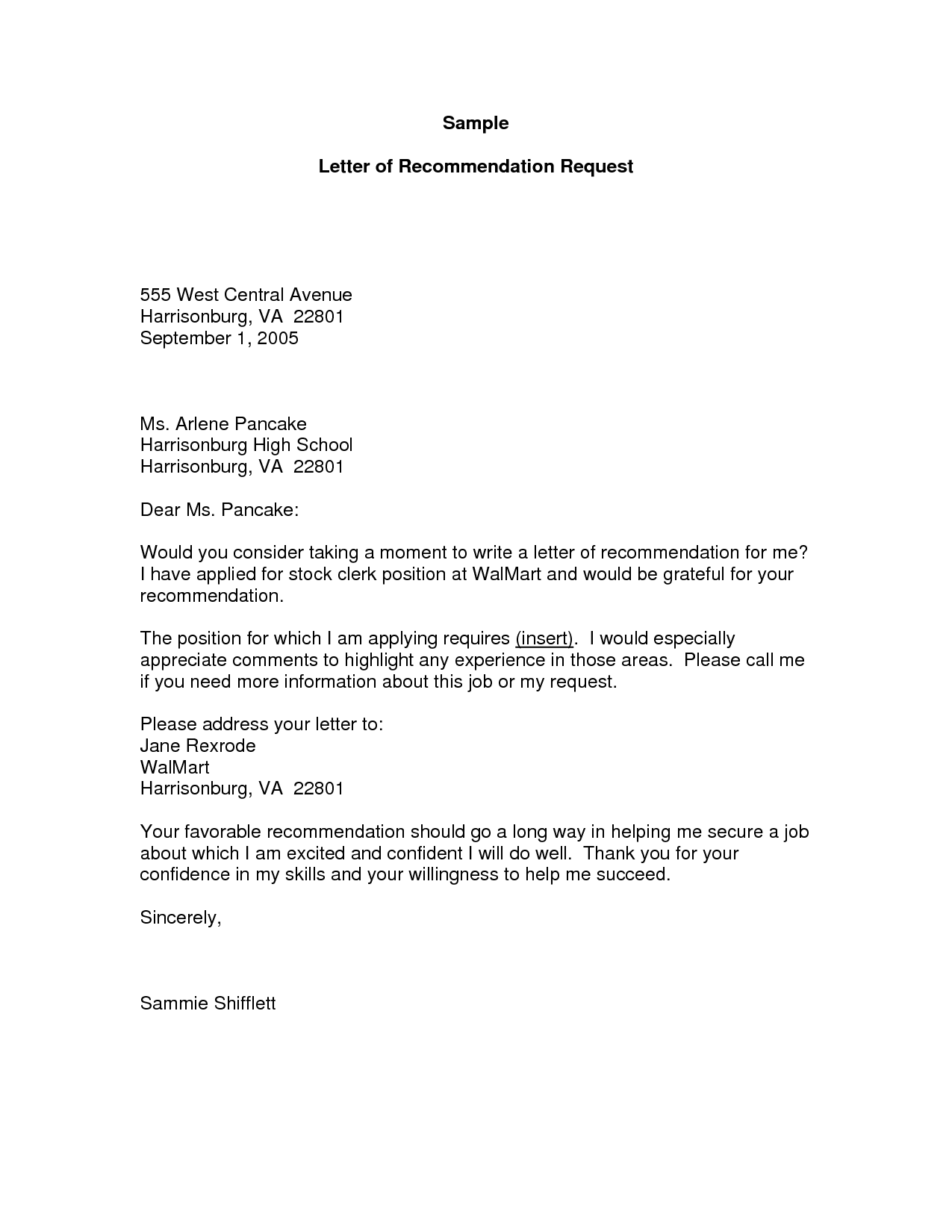 Sample For Recommendation Letter Request Cover Letter Templates