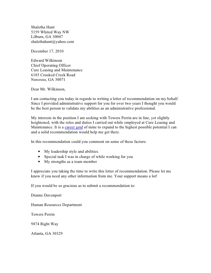 Sample Email Recommendation Letter Request Cover Letter Sample