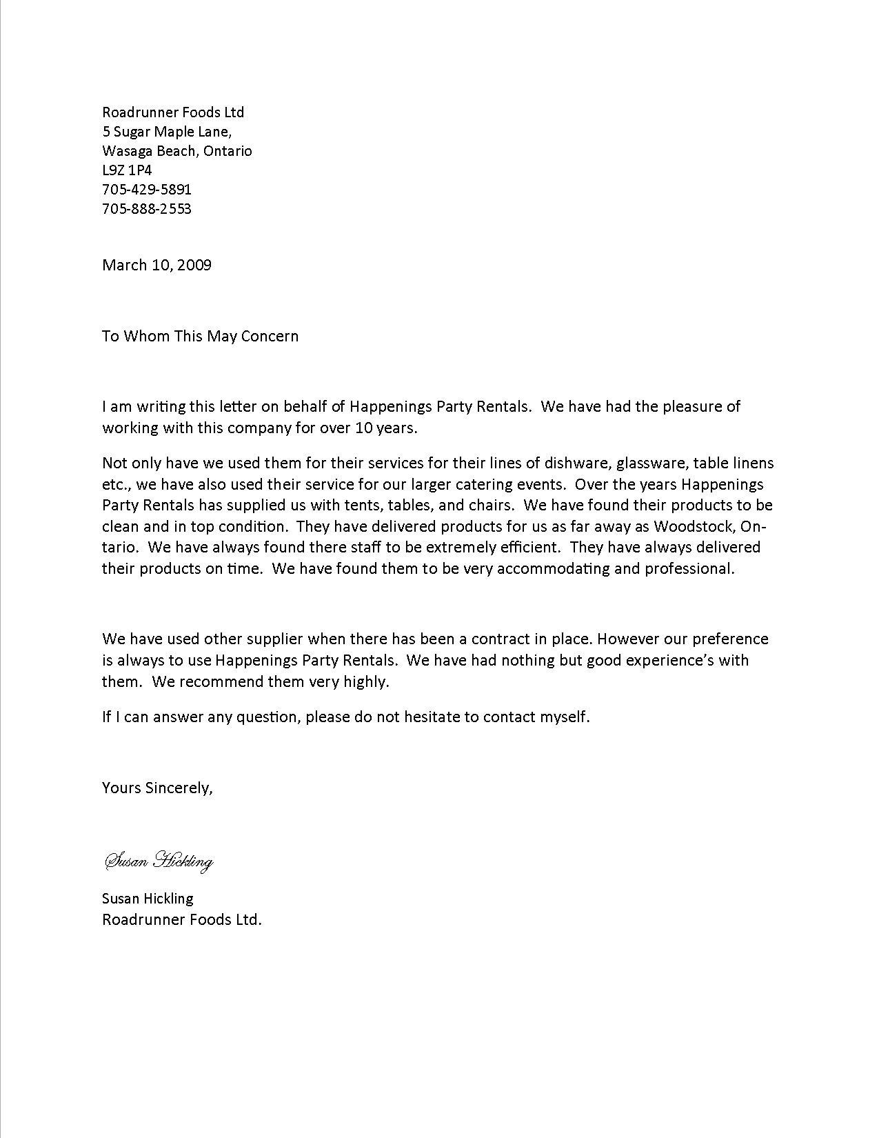 Letter Of Recommendation For Business Services Best Template