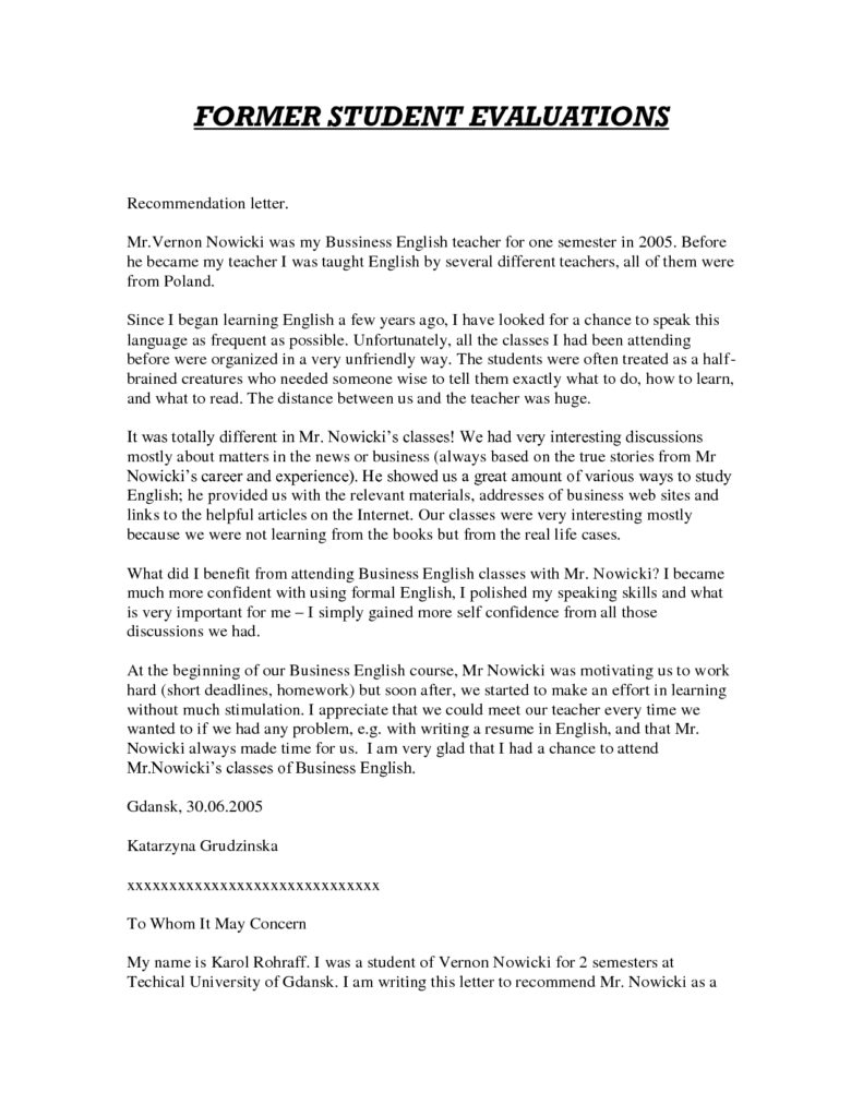 Teacher Recommendation Letter Template on graduate school, for substitute, personal reference, law school,