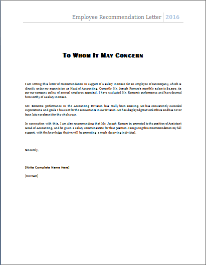 Reference Letter For Employee Format