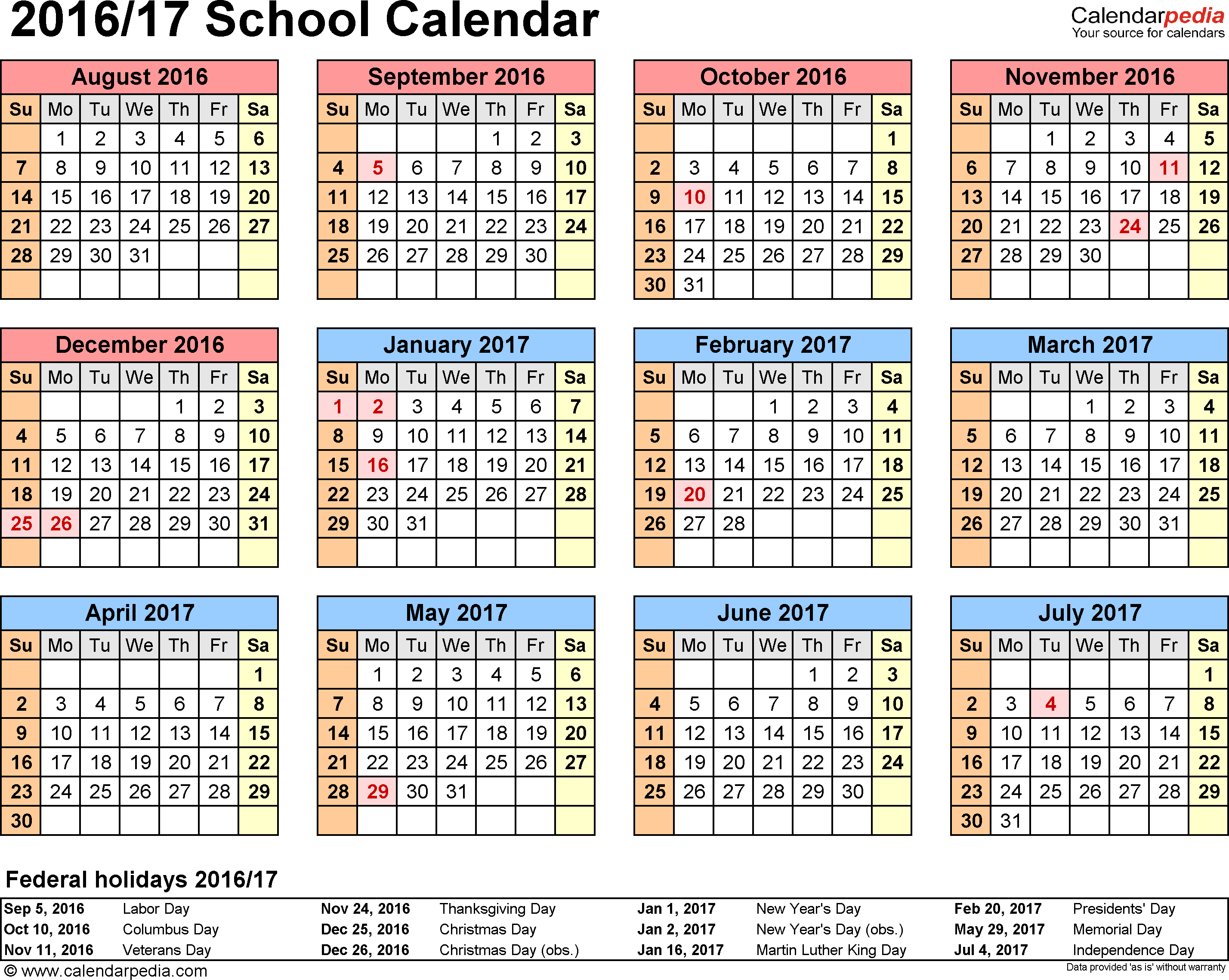 School calendars 2016/2017 as free printable Excel templates