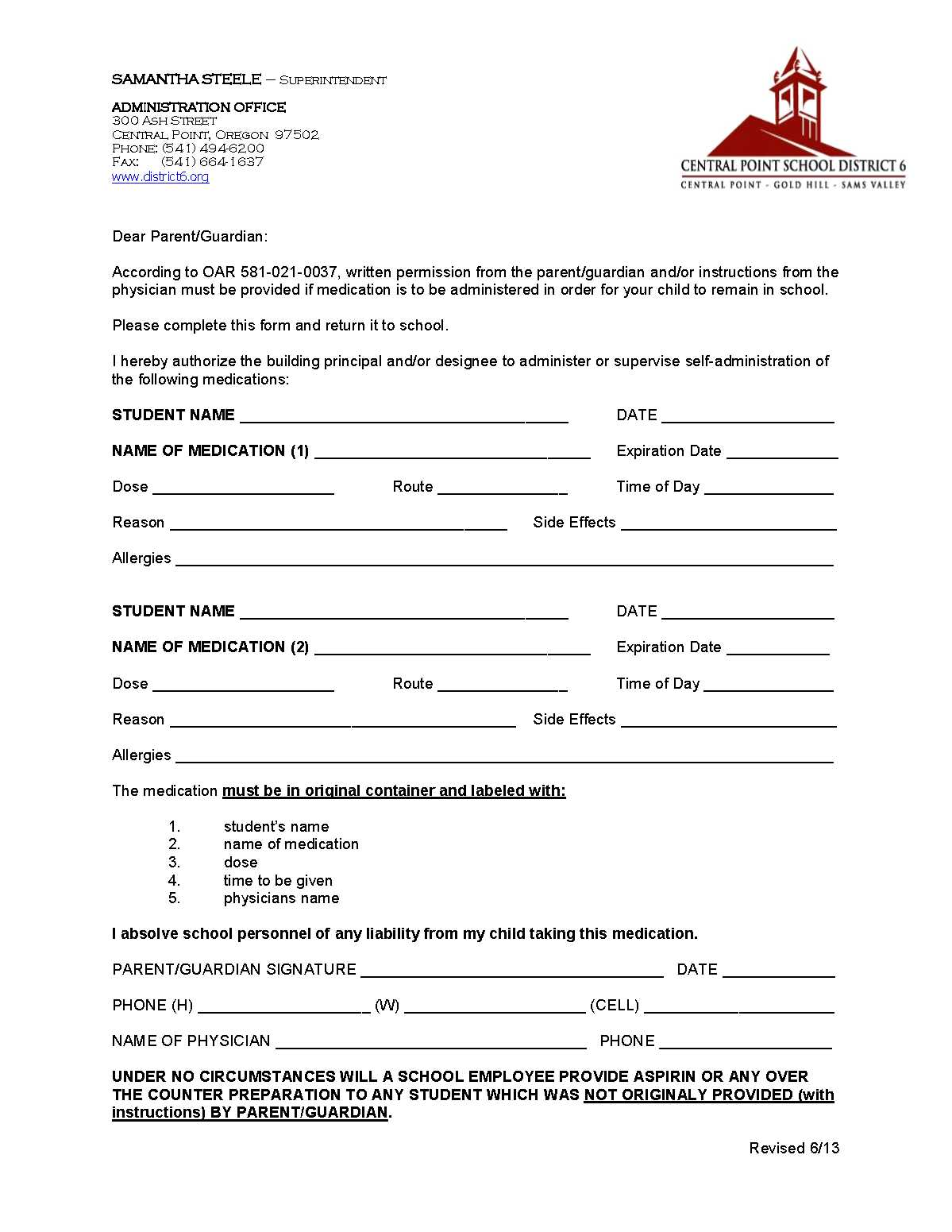 medication form « Scenic Middle School