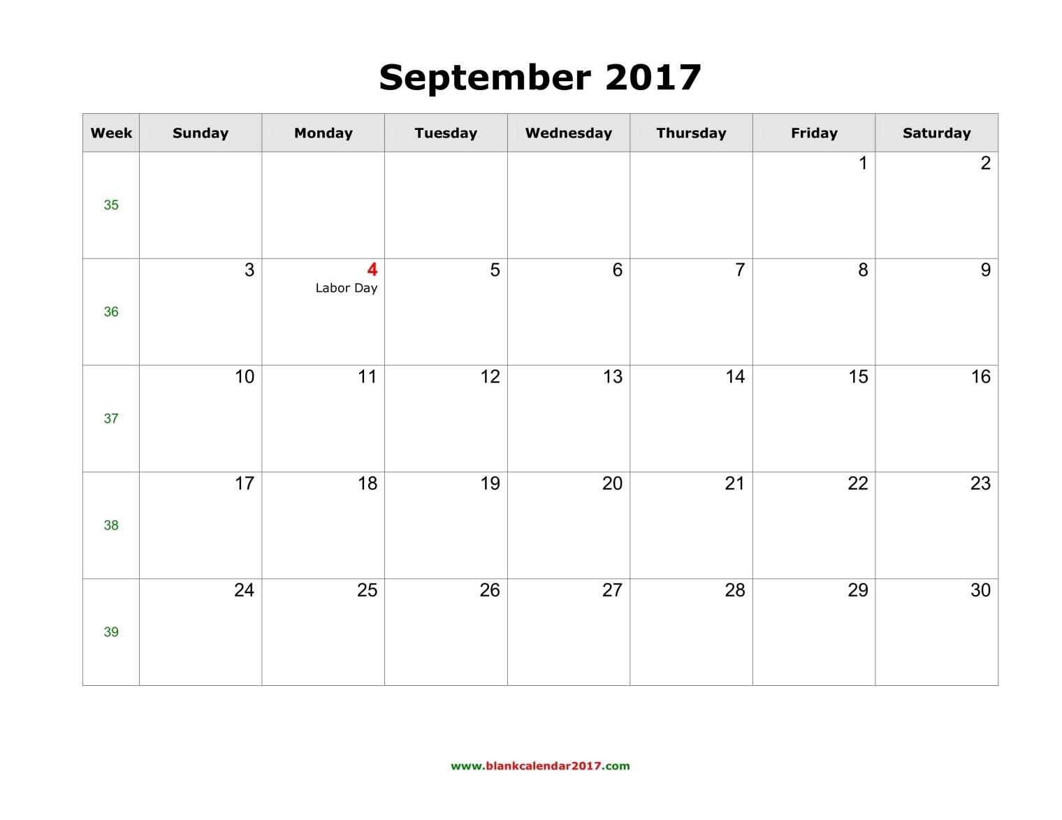 September 2017 Calendar Canada | yearly calendar template