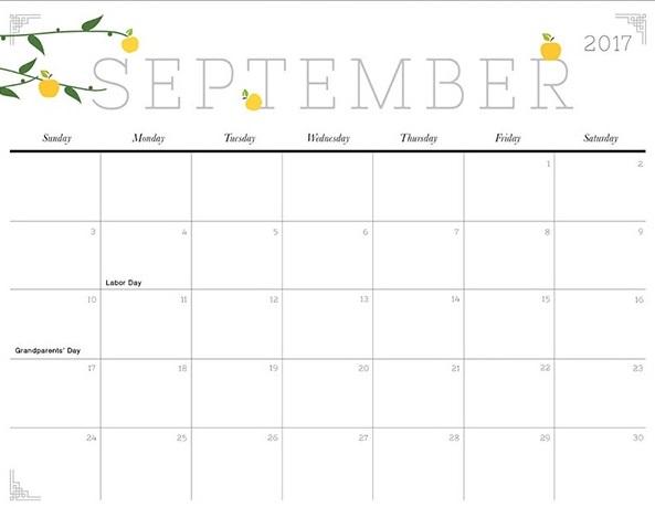Cute Printable Calendar 2017 | Calendar Printable 2017