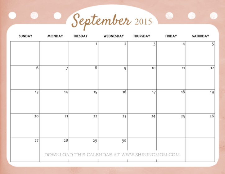 September 2017 Calendar Cute | blank calendar printable