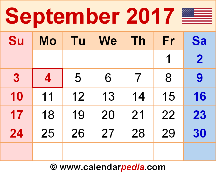 September 2017 Calendar Cute | weekly calendar template