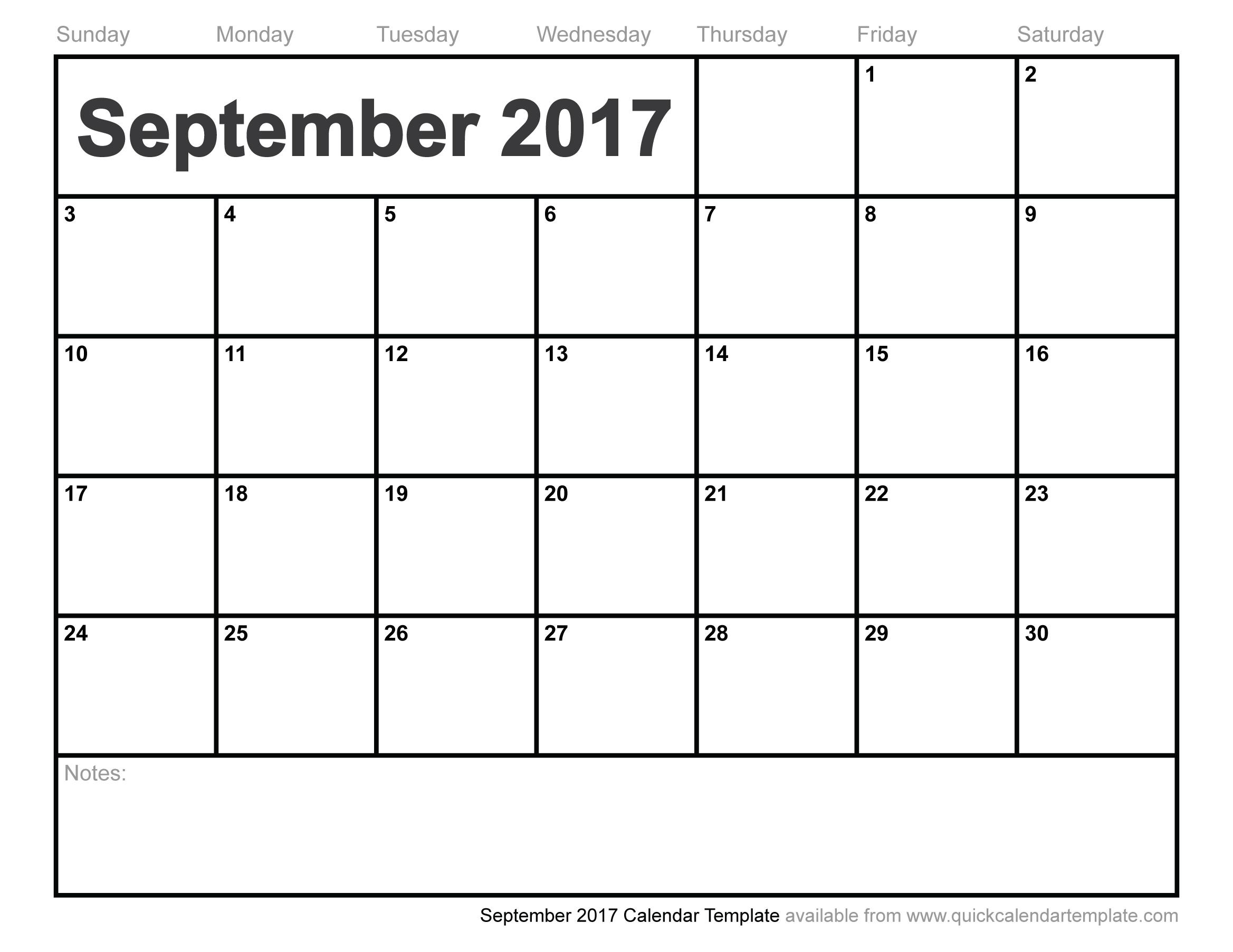 September 2017 Calendar Template | weekly calendar template