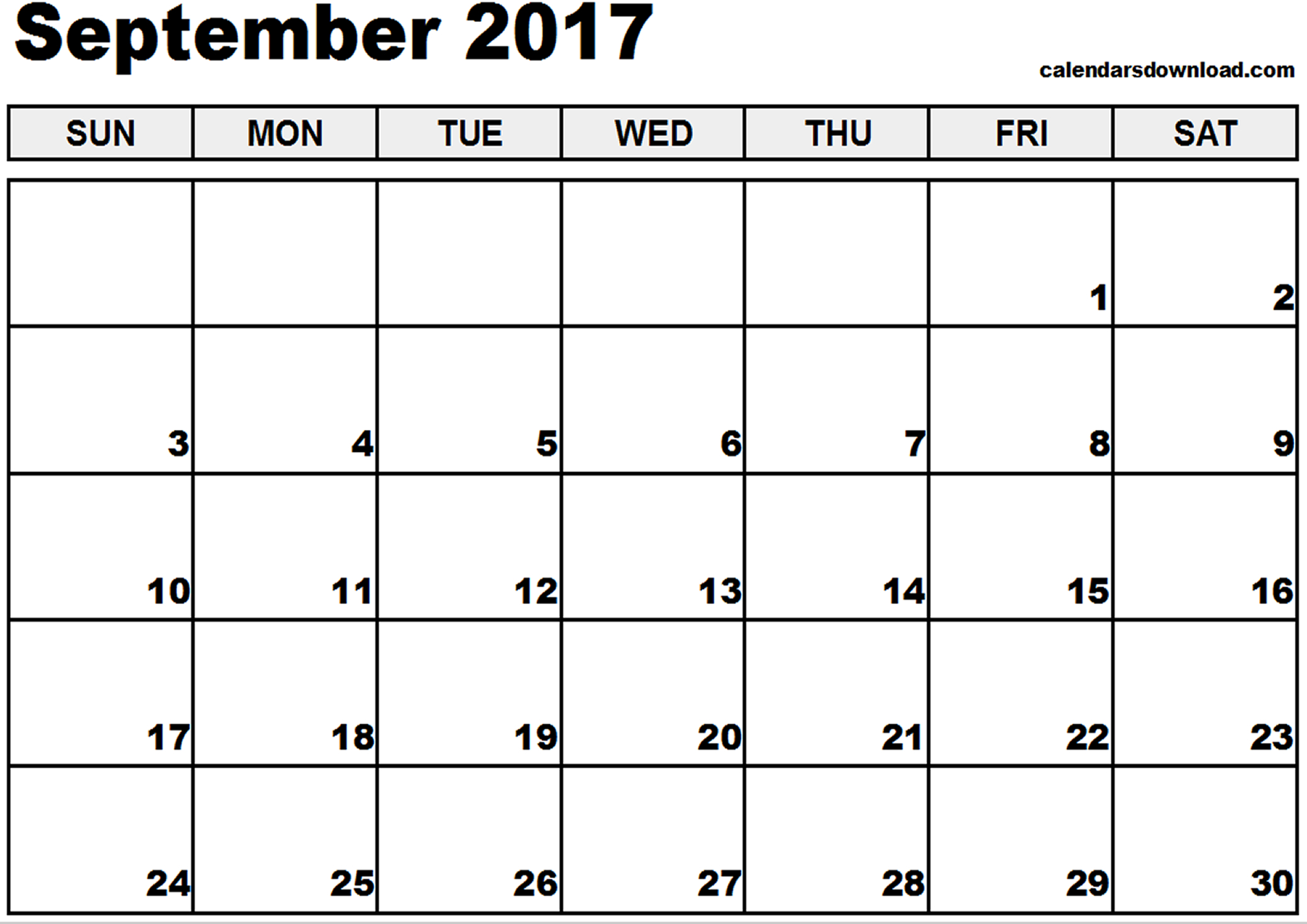 September 2017 Calendar | weekly calendar template