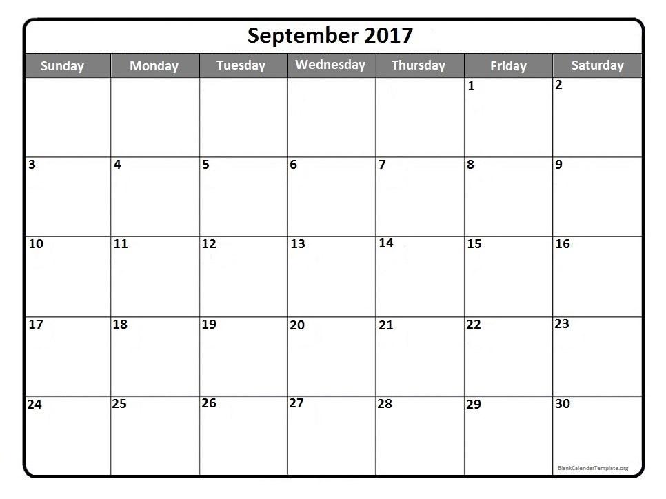 Blank September 2017 Calendar | weekly calendar template