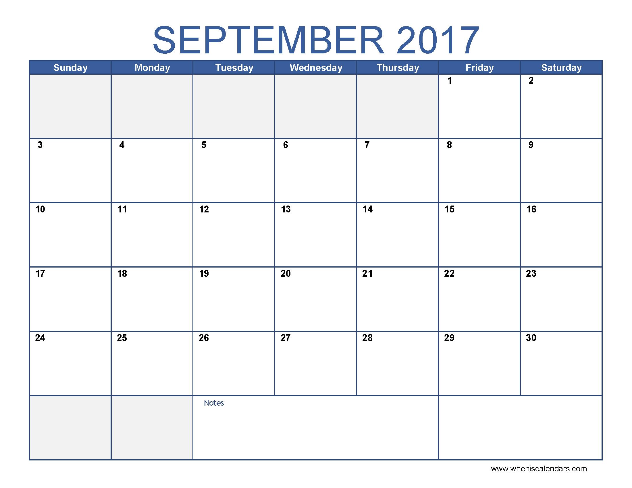September 2017 Calendar Template Printable Monthly Calendar When