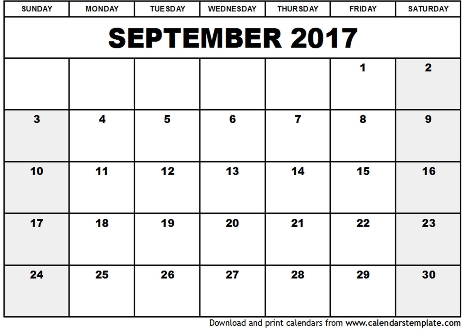 September 2017 Calendar Template