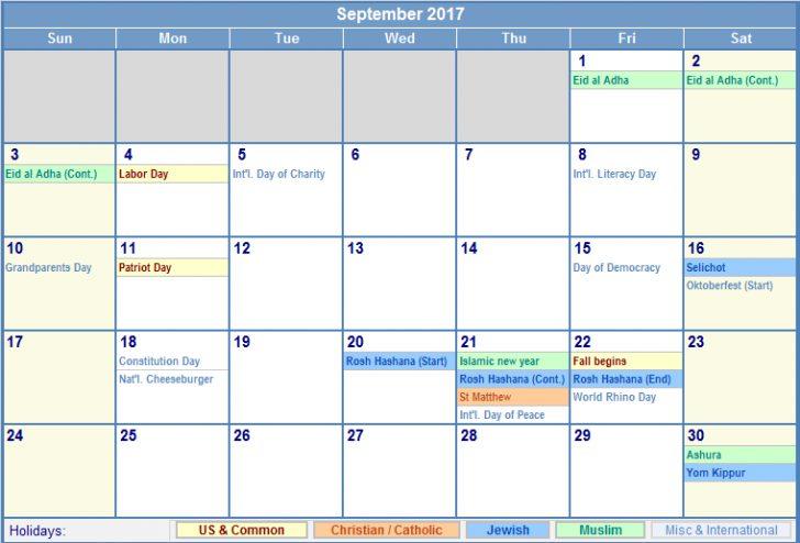 September 2017 Calendar With Holidays | free calendar 2017