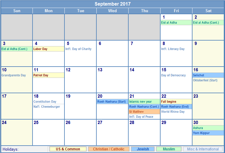 September 2017 Calendar With Holidays | blank calendar printable