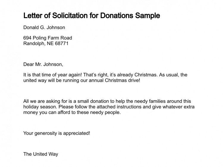 solicitation letter for donations
