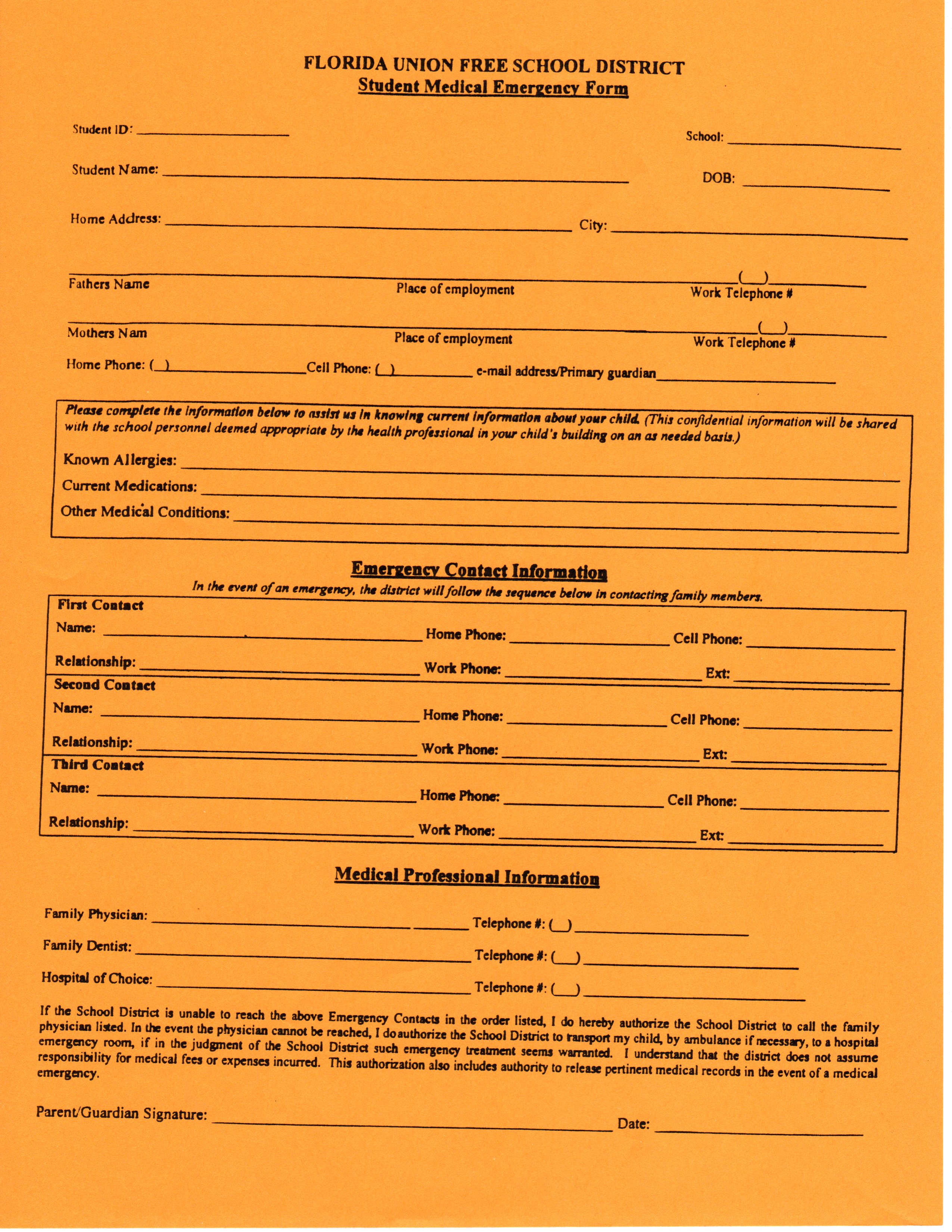 School Forms / Emergency Forms