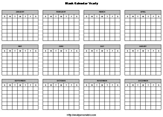 Templates of Yearly Calendars | Yearly Calendar Templates
