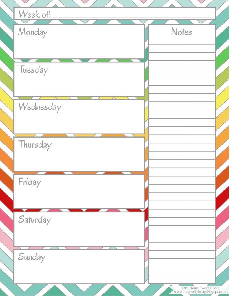 Weekly Calendar Printable | weekly calendar template