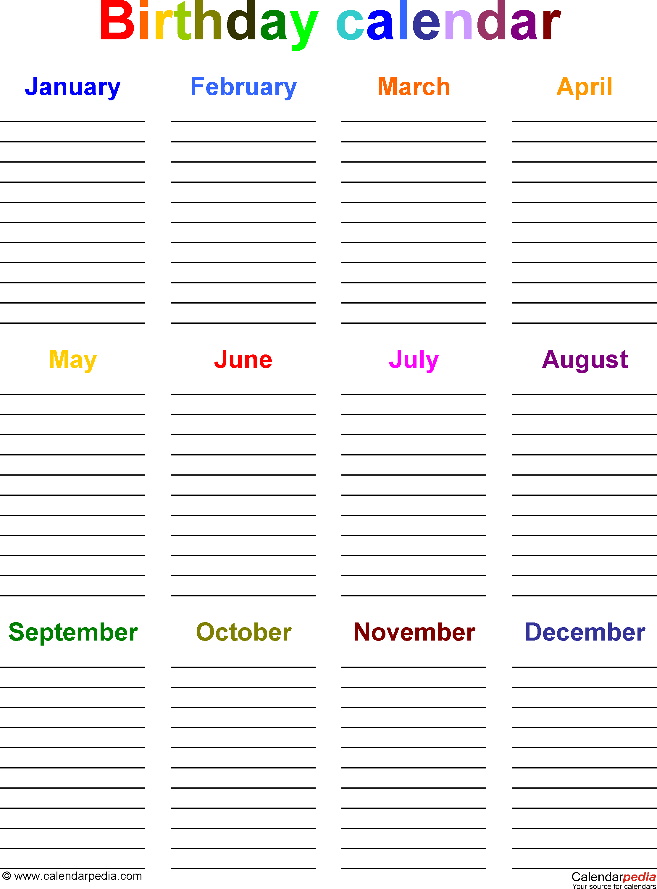 Birthday calendars 7 free printable Word templates