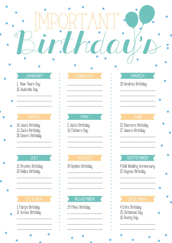 Yearly Birthday Calendar | printable calendar templates