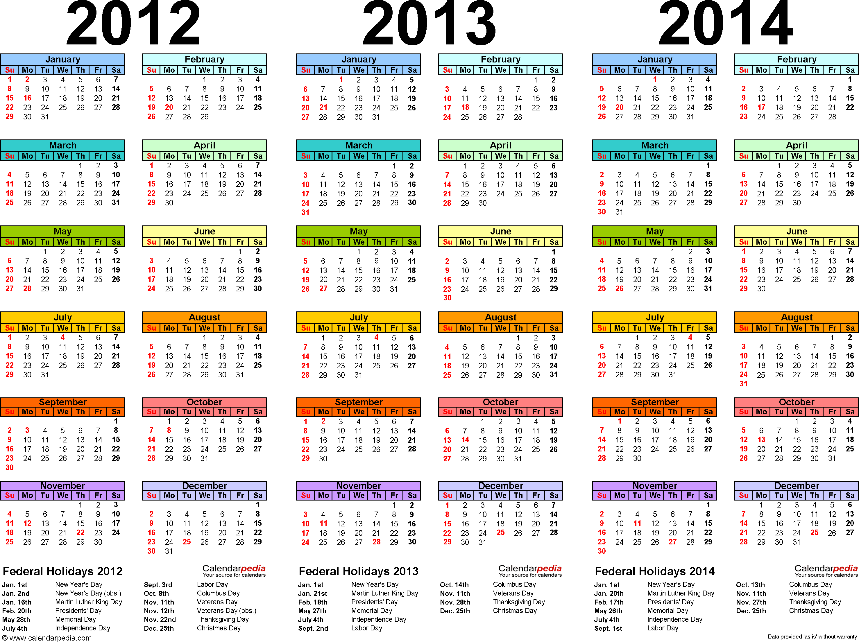 2012/2013/2014 calendar 2 three year printable PDF calendars