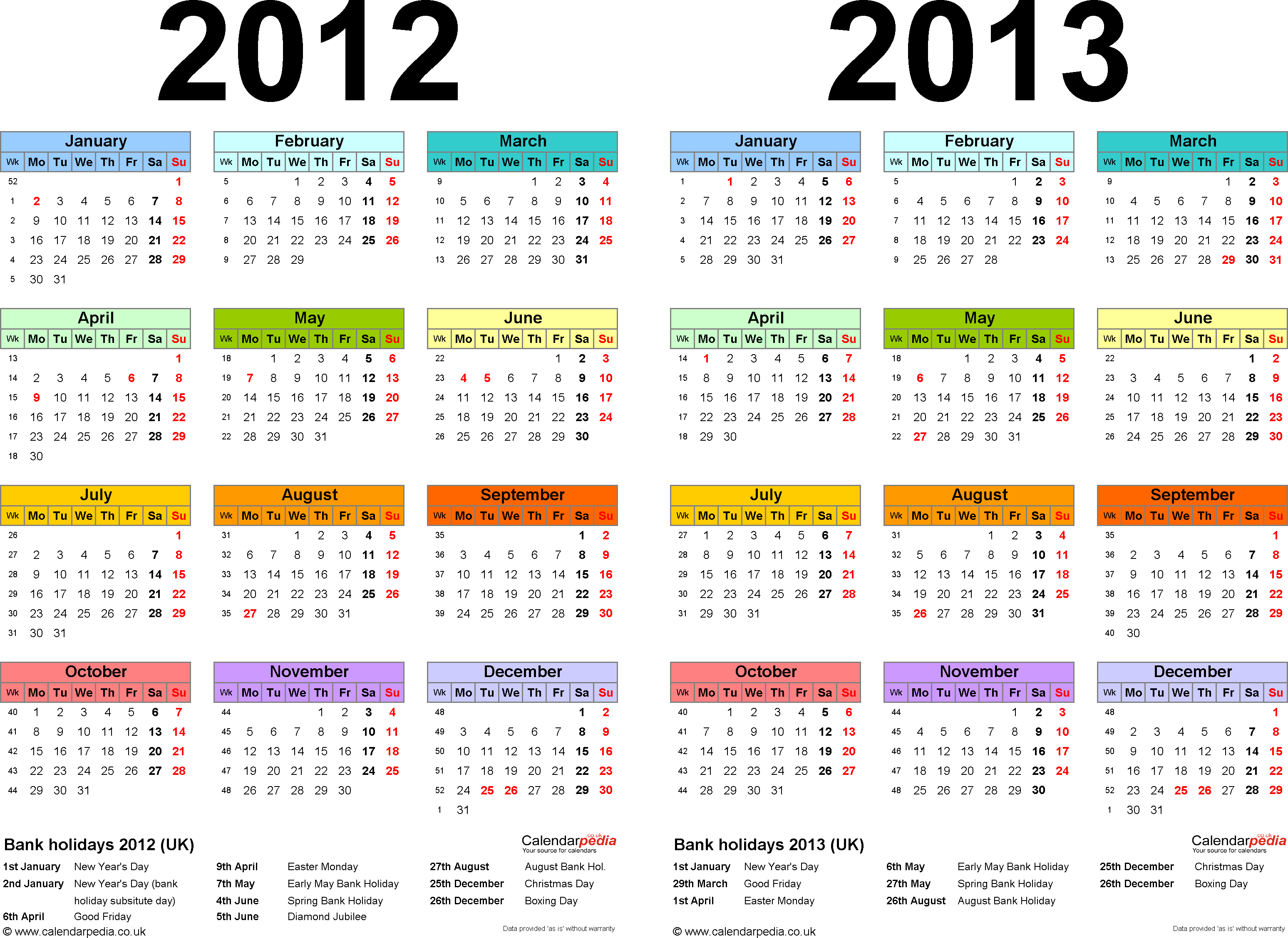 Two year calendars for 2012 & 2013 (UK) for Word