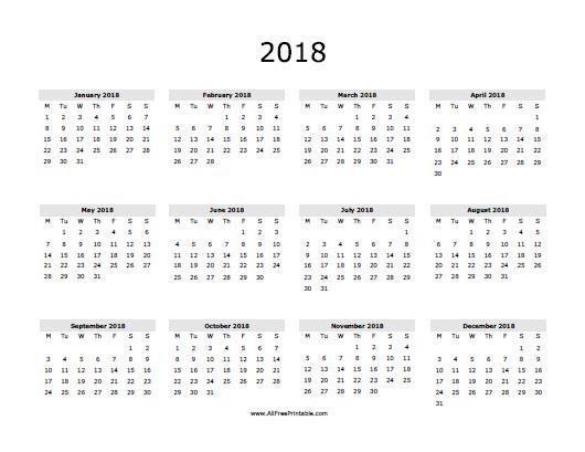2018 Calendar Printable | yearly calendar template