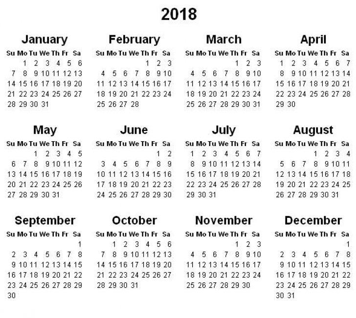 2018 Year Calendar | yearly calendar printable