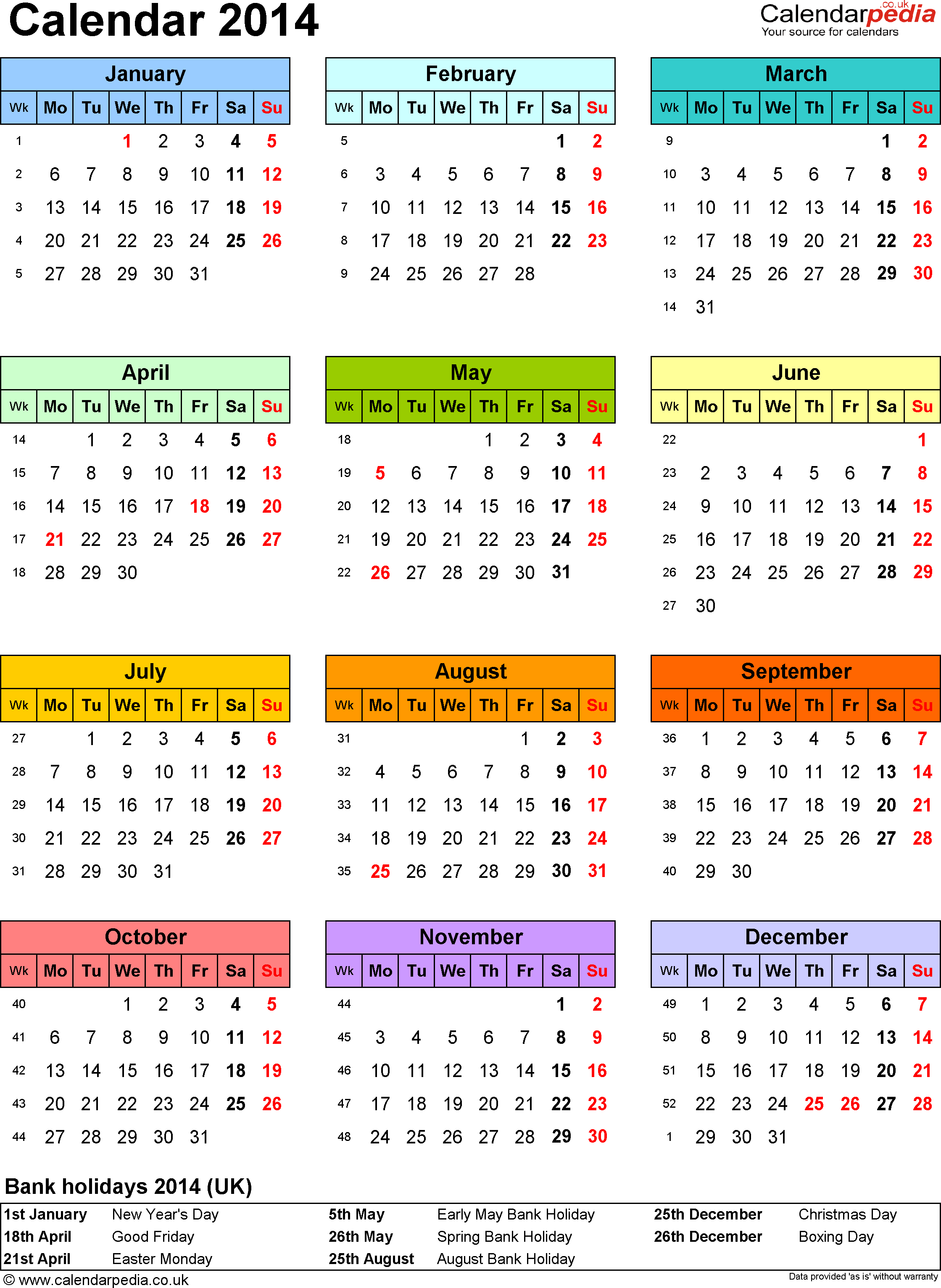 Yearly Calendar A4 | yearly calendar template