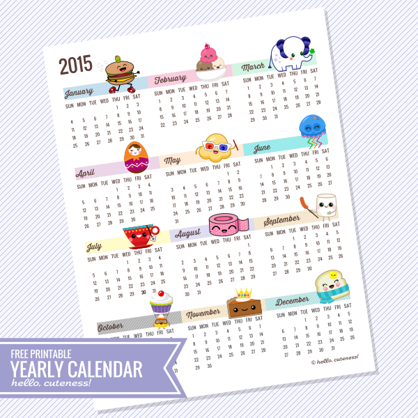 Yearly Calendar Cute | yearly calendar printable