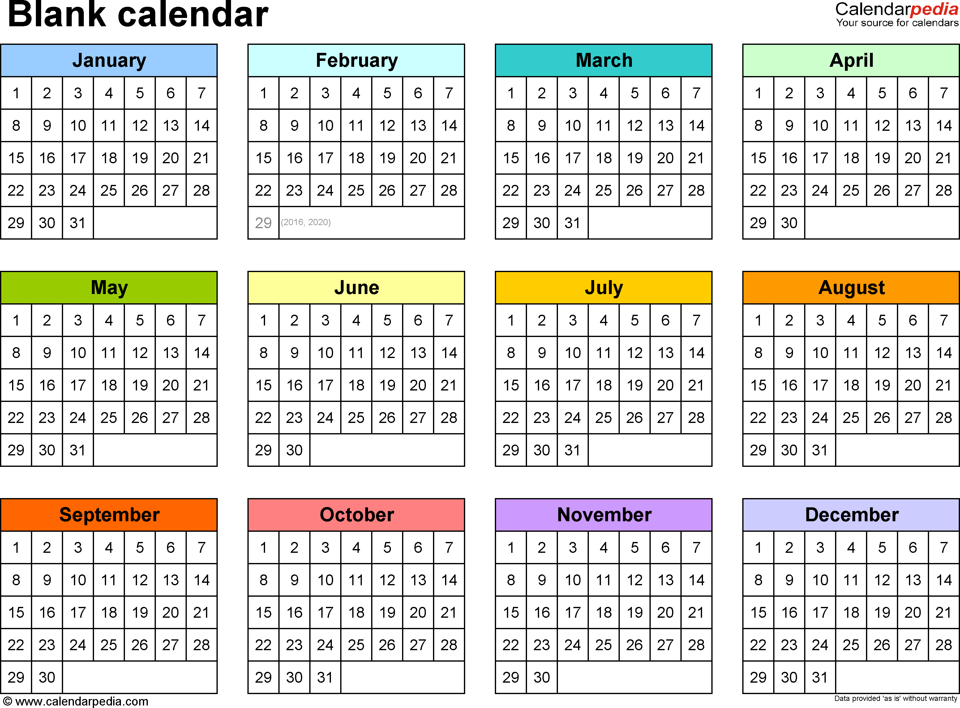 Yearly Calendar Printable | weekly calendar template