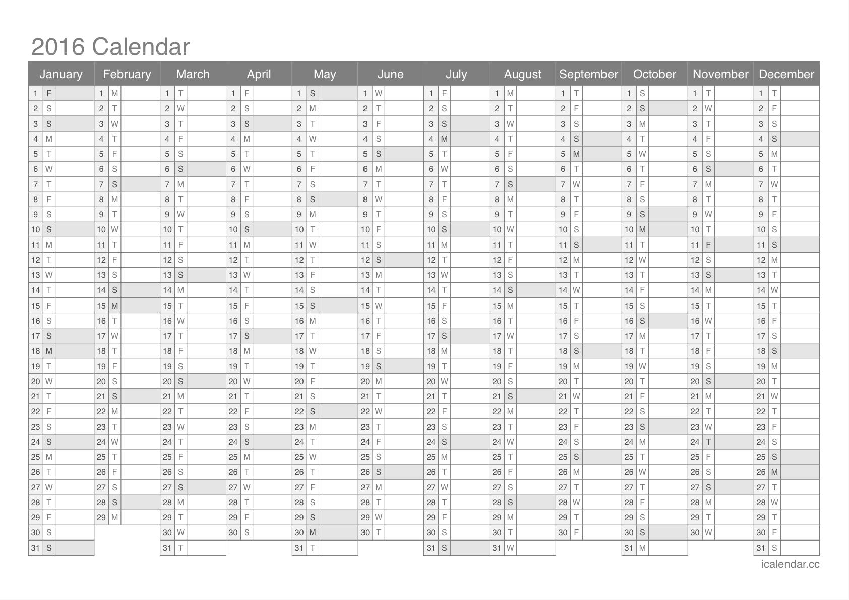 Yearly Calendar Printable 2016 | printable calendar templates