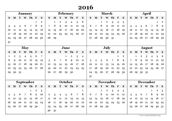 2016 Yearly Calendar Template 07 Free Printable Templates