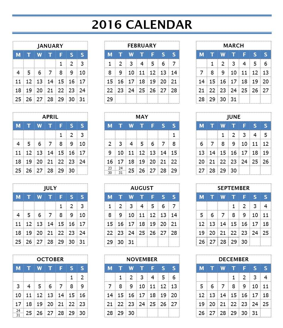 2016 Yearly Calendar Template | printable calendar templates