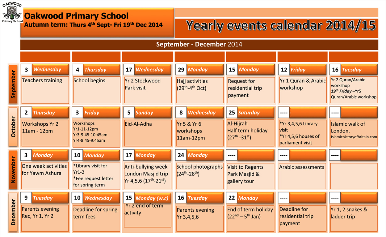 Yearly Events Calendar | yearly calendar printable