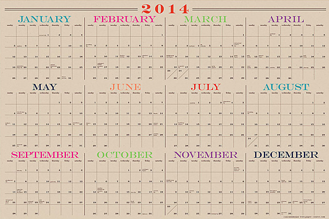 24 Beautiful Wall Calendars for 2014 | Brit + Co