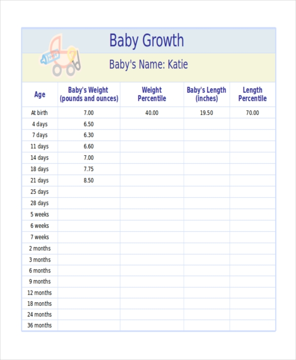 Baby growth chart Templates Office